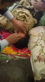 Wounded gets first aid, Kashmirica